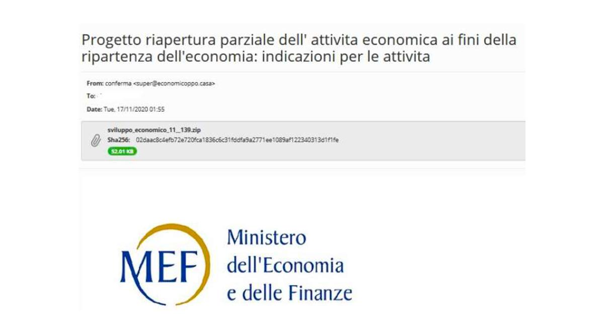 finta email ministero delle finanze